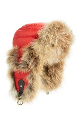 Tasha Tarno Women's Nylon And Genuine Fox Fur Trapper Hat Red Red Red