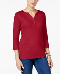 Karen Scott Three Quarter Sleeve Henley Top Only At Macy's New Red Amore