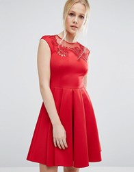Ted Baker Embroidered Cut Out Dress Bright Red