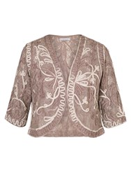 Chesca Mink Ombre Cornelli Stretch Lace Bolero Brown