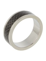 Ted Baker Carb Carbon Fiber Inlay Ring Silver