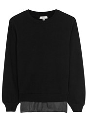 Clu Black Satin Back Cotton Sweatshirt
