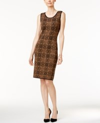 Charter Club Petite Printed Jacquard Sheath Dress Only At Macy's Salty Nut Combo