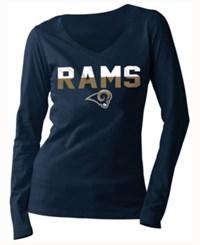5Th And Ocean Women's Los Angeles Rams Huddle Le Long Sleeve T Shirt Navy