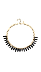Rachel Zoe Cleo Spike Necklace Gold Onyx