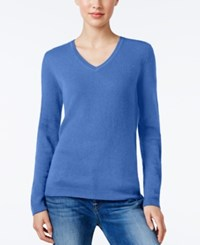 Charter Club Petite Cashmere V Neck Sweater Only At Macy's Bluegrass