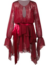 Alexandre Vauthier Ruffled Semi Sheer Dress Red