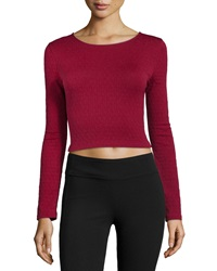 Romeo And Juliet Couture Textured Stretch Knit Crop Top Burgundy