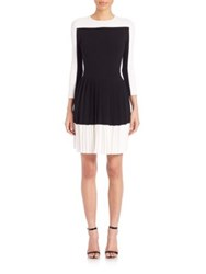 Carolina Herrera Long Sleeve Pleated Knit Dress Black White