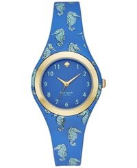 Kate Spade New York Women's Rumsey Blue And Mint Splash Seapony Print Silicone Strap Watch 30Mm Ksw1109