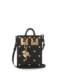 Sophie Hulme Nano Albion Studded Heart Leather Bag Black Gold