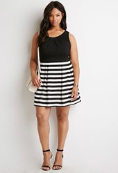 Forever 21 Plus Size Striped Fit And Flare Dress Black Cream