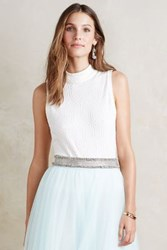 Anthropologie Diamond Mockneck Tank White