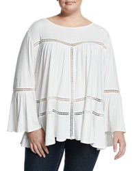 Cirana Plus Bell Sleeve Lace Inset Top Offwhite