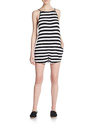 The Fifth Label Play It Right Striped Romper Black White