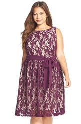Plus Size Women's Gabby Skye Belted Lace Fit And Flare Dress Eggplant Beige