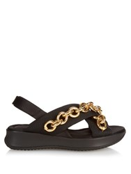 Burberry Actonshire Chain Embellished Sandals Black Gold