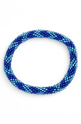 Women's Aid Through Trade Roll On Beaded Stretch Bracelet Blue Zig Zag