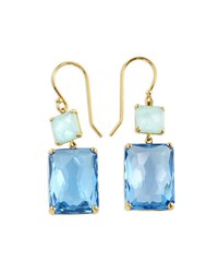 Ippolita 18K Gold Rock Candy Rectangle Snowman Earrings In Amazonite Swiss Topaz