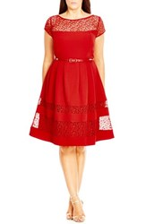 City Chic Plus Size Women's Fit And Flare Dress With Delicate Lace Insets Red