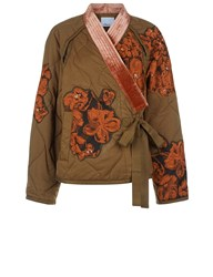3.1 Phillip Lim Khaki Floral Applique Utility Jacket Green