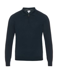 Brioni Zip Up Wool Polo Top Navy