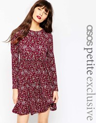 Asos Petite Exclusive Babydoll Dress In Ditsy 90'S Floral Multi
