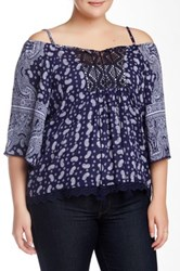 Angie Cold Shoulder Printed Blouse Plus Size Blue