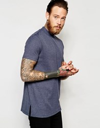 Asos Extreme Muscle Longline T Shirt With Turtleneck In Rib In Navy Marl Navy Marl