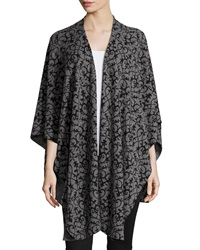 Neiman Marcus Cashmere Collection Drape Front Scroll Print Cashmere Shawl Gray Black