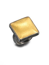 Gurhan Amulet 24K Yellow Gold And Blackened Sterling Silver Square Ring Black Silver