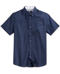 Level 10 Men's Slim Fit Triangle And Dot Pattern Short Sleeve Shirt Navy