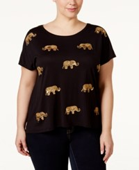 Inc International Concepts Plus Size Sequined Elephant T Shirt Only At Macy's Deep Black