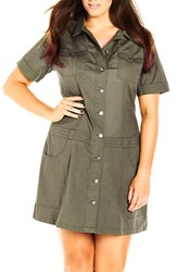 City Chic Plus Size Women's 'Adventure' Short Sleeve Stretch Cotton Shirtdress Khaki