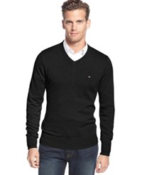 Tommy Hilfiger Big And Tall Signature Solid V Neck Sweater Deep Knit Black