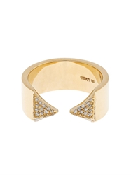 Ileana Makri White Diamond And Yellow Gold Pyramid Ring