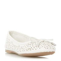 Head Over Heels Harlone Laser Cut Bow Ballerina Shoes White