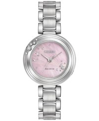 Citizen Women's Carina Diamond Accent Stainless Steel Bracelet Watch 28Mm Em0460 50N Pink