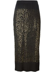 Pleats Please By Issey Miyake Foil Print Pleated Pencil Skirt Black