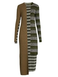 Maison Martin Margiela Striped Mixed Knit Wool Blend Dress Green Multi