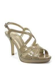 Tahari Balthasar Patent Leather Strappy Peep Toe Sandals Toast