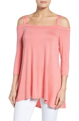 Bobeau Women's Off The Shoulder Top Pink Mamly
