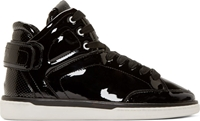 Dolce And Gabbana Black Patent Leather High Top Sneakers