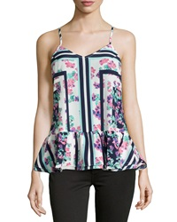 Lovers Friends Fade Into You Ruffle Hem V Neck Tank Floral Scarf