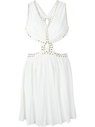 Jay Ahr Studded Cut Out Dress White