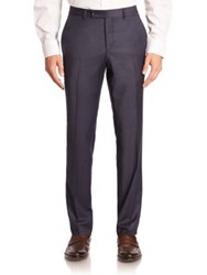 Saks Fifth Avenue Geometric Wool Trousers Blue