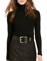 Polo Ralph Lauren Ribbed Wool Blend Turtleneck Top Black