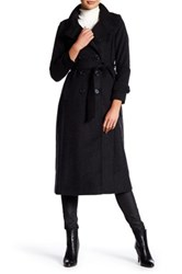 Dkny Double Breasted Long Wool Blend Military Coat Petite Gray