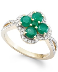 Macy's Emerald 2 Ct. T.W. And Diamond 1 4 Ct. T.W. Clover Ring In 14K Gold Green