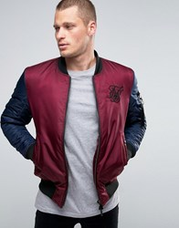Sik Silk Siksilk Bomber Jacket With Contrast Sleeves Burg Navy Red